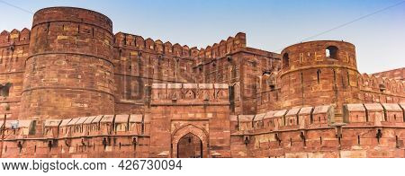 Panorama Of The Delhi Gate Of The Red Fort In Agra, India