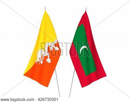 National Fabric Flags Of Maldives And Kingdom Of Bhutan Isolated On White Background. 3d Rendering I