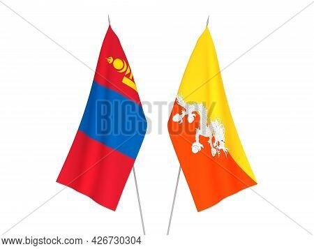 National Fabric Flags Of Mongolia And Kingdom Of Bhutan Isolated On White Background. 3d Rendering I