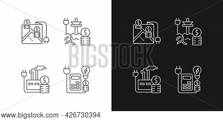 Electrical Energy Purchase Expense Linear Icons Set For Dark And Light Mode. Electricity Consumption