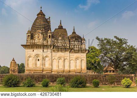 Temple And Garden In The Historic City Khajuraho, India