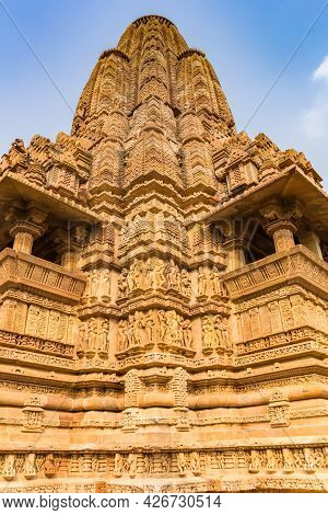 Decorated Tower Of The Temple Complex In Khajuraho, India