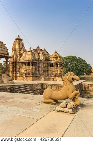 Sculpture In Front Of The Temples Of Khajuraho, India