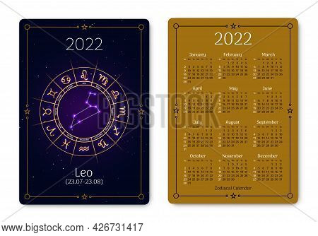 Leo Pocket Size Calendar Layout With Zodiac Sign. 2022 Year Double Sided Vertical Calendar With Leo