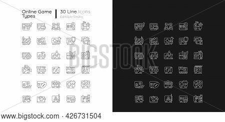 Online Game Types Linear Icons Set For Dark And Light Mode. Adventure Gameplay. Exciting Action Game