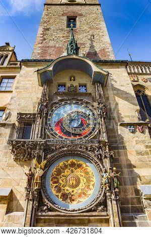 Tower Of The Historic Town Hall With Astronomical Clock In Prague, Czech Republic