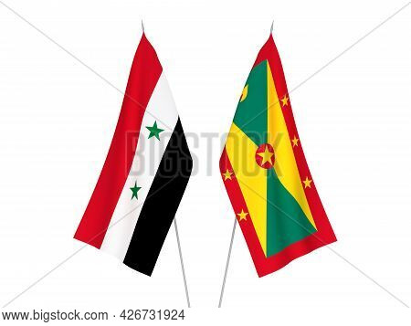 National Fabric Flags Of Grenada And Syria Isolated On White Background. 3d Rendering Illustration.