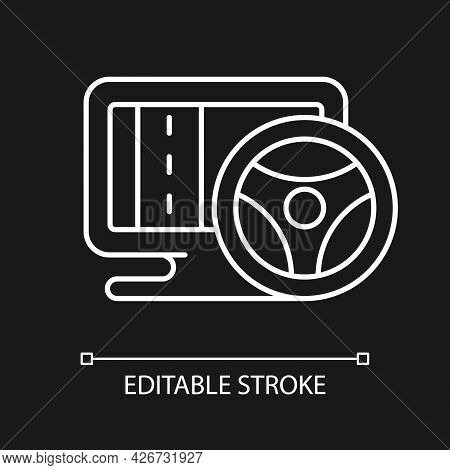 Vehicle Simulation White Linear Icon For Dark Theme. Innovative Car Driving Games. Thin Line Customi