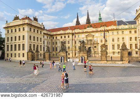 Prague, Czech Republic - September 12, 2020: Entrance Gate Of The Historic Castle In Prague, Czech R