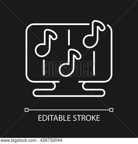 Rhythm Games White Linear Icon For Dark Theme. Special Game Of Music Theamed Genre. Fun Time. Thin L