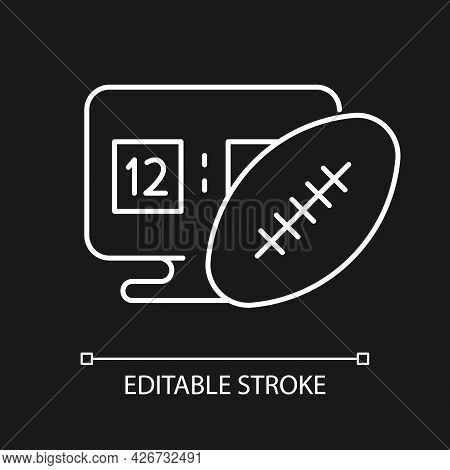 Online Football Games White Linear Icon For Dark Theme. Modern Sport Matches Simulator Types. Thin L