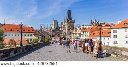 Prague, Czech Republic - September 13, 2020: Tourists At Souvenir Stalls On The Charles Bridge In Pr