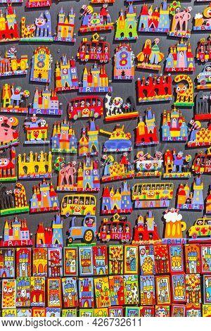 Prague, Czech Republic - September 13, 2020: Colorful Magnets In A Souvenir Shop In Prague, Czech Re