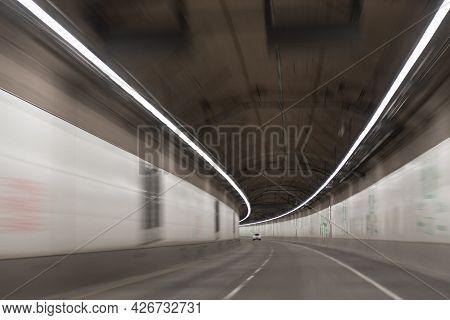 Modern Underground Tunnel. Gray Road Tunnel. City Underground Bridge.