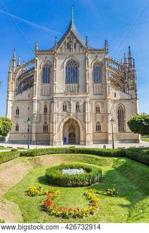 Front Facade Of The Historic St. Barbara Church In Kutna Hora, Czech Republic
