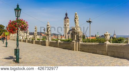 Panorama Of Statues At The Historic Barborska Street In Kutna Hora, Czech Republic