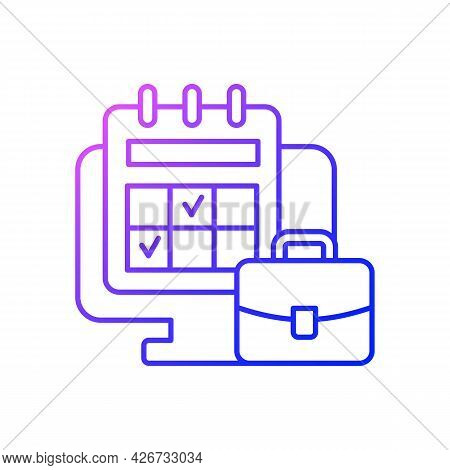 Online Work Calendar Gradient Linear Vector Icon. Schedule Business Dates And Events. Tracker On Com