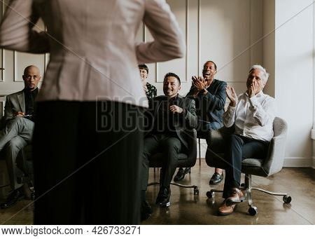 Businesswoman presenting the strategy to her team
