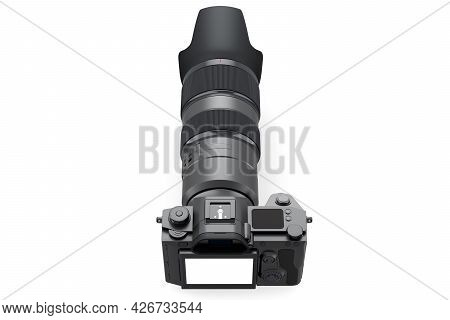 Concept Of Nonexistent Dslr Camera With Macro Lens Isolated On A White Background. 3d Rendering And