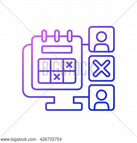 Absence Calendar Gradient Linear Vector Icon. Tracking Employee Leaves And Days Off Remotely. Work M