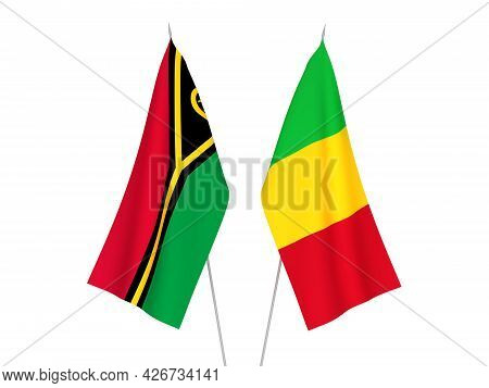 National Fabric Flags Of Mali And Republic Of Vanuatu Isolated On White Background. 3d Rendering Ill