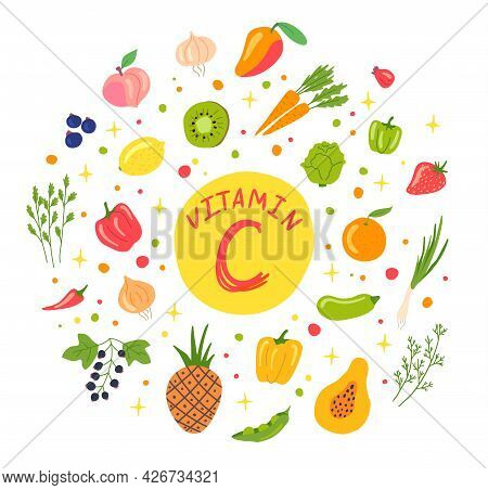 Cartoon Color Vitamin C Sources Concept Banner Poster Card. Vector