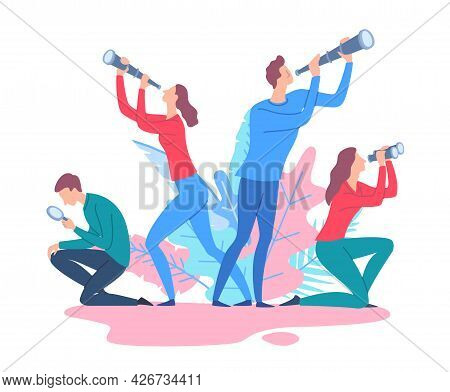 Cartoon Color Characters People And Searching For Opportunities Concept. Vector