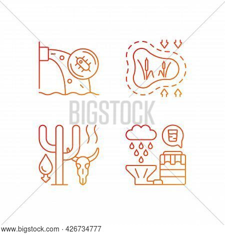 Worldwide Rising Water Demand Gradient Linear Vector Icons Set. Water Contamination. Disappearing We