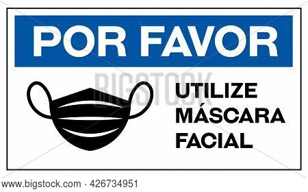 Please Wear Face Mask In Portuguese Sign