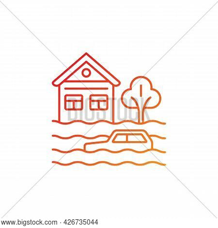 Floods Gradient Linear Vector Icon. Water-related Disaster. Negative Impacts On Environment. Natural