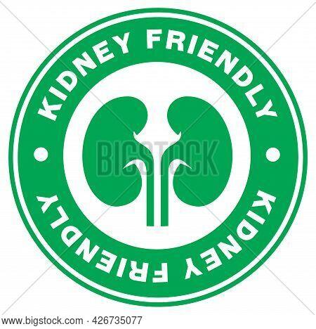 Kidney Friendly Stamp Label On White Background