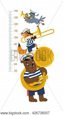 Brass Band Of Animals. Meter Wall Or Height Chart