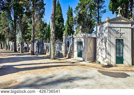 Lisbon, Portugal- October 22, 2018: Unique Old Catholic Cemetery Dated 14-15Th Centuries As A Commem