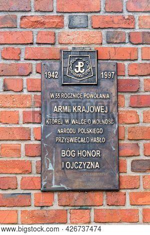 Lubin, Poland - June 1, 2021: Memorial Plaque To Home Army (polish: Armia Krajowa).