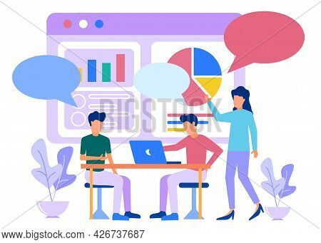 Vector Illustration Of Business Concepts, Business People Engaging In Dialogue In Teamwork, Sitting