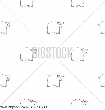 Seamless Pattern With Cute Cartoon Elephants On White Background. Funny Doodle Animals Wallpaper.