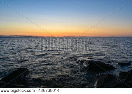 Sunset Over Lake Vattern In Motala Sweden
