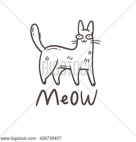 Card With  Cute Cartoon Meow Cat.  Funny Doodle Kitten. Vector Contour Image. Playful Animal Print.
