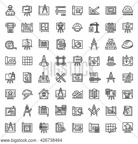 Architect Equipment Icons Set. Outline Set Of Architect Equipment Vector Icons For Web Design Isolat