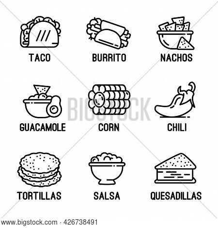 Mexican Food Icons Set. Outline Set Of Mexican Food Vector Icons For Web Design Isolated On White Ba