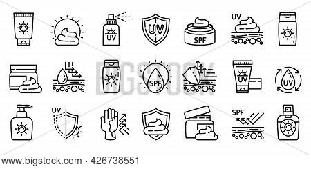 Cosmetic Sun Icons Set. Outline Set Of Cosmetic Sun Vector Icons For Web Design Isolated On White Ba