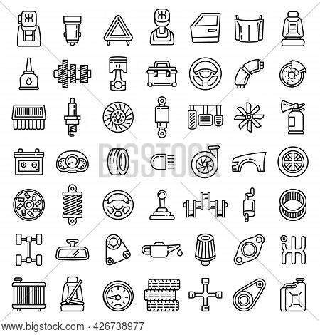 Car Parts Icons Set. Outline Set Of Car Parts Vector Icons For Web Design Isolated On White Backgrou