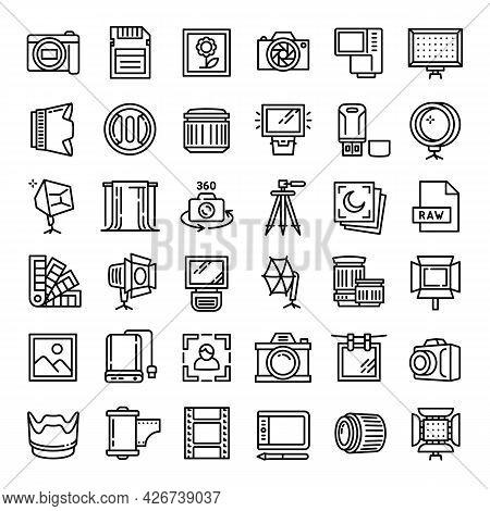 Photographer Equipment Icons Set. Outline Set Of Photographer Equipment Vector Icons For Web Design