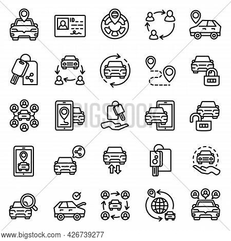 Car Sharing Icons Set. Outline Set Of Car Sharing Vector Icons For Web Design Isolated On White Back