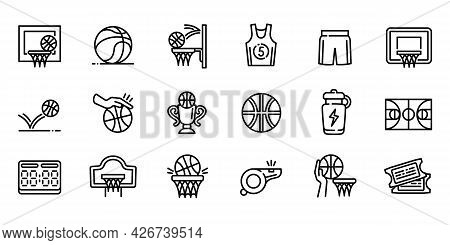 Basketball Equipment Icons Set. Outline Set Of Basketball Equipment Vector Icons For Web Design Isol