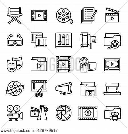 Film Production Icon. Outline Film Production Vector Icon For Web Design Isolated On White Backgroun