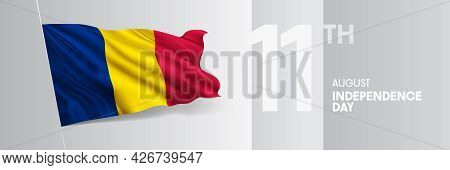 Chad Happy Independence Day Greeting Card, Banner Vector Illustration