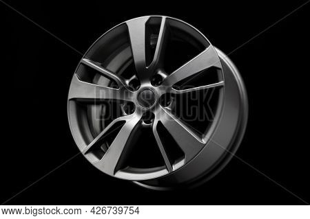 Black Matte Fashion Alloy Wheel, A Product For Car Tuning. Close Up