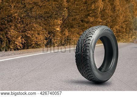 A Tire On The Road In Autumn. Winter All-season Or Autumn Wheel. Changing The Cars Shoes For The Sea