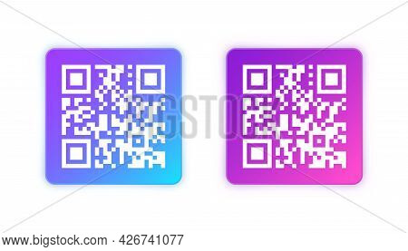 Modern Colorful Qr Code Sticker. Identification Tracking Code. Serial Number, Product Id With Digita